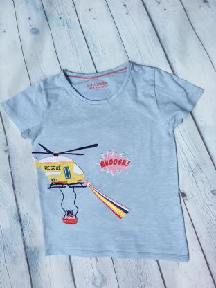 Mini Boden light blue applique rescue tshirt age 6-7